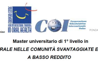 """Master universitario di I livello in """"Salute orale nelle comunità svantaggiate e nei Paesi a basso reddito""""."""